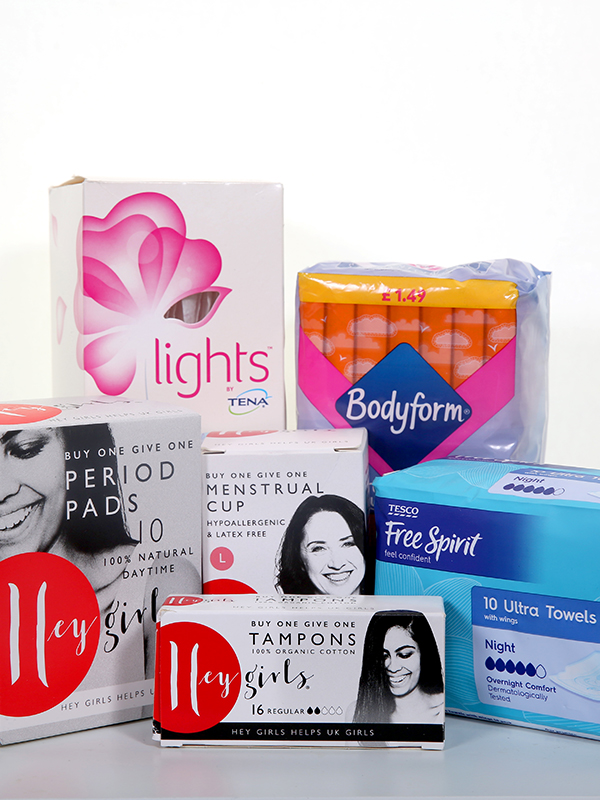 Photograph showing a selection of female sanitary products